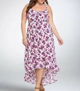 Torrid Floral Ruffled Hi-Lo Maxi Dress